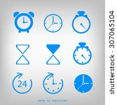 time and clock icons. vector... | Shutterstock .eps vector #307065104