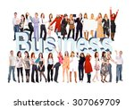 with a word business with text  | Shutterstock . vector #307069709