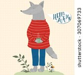 cute hand drawn vector wolf in... | Shutterstock .eps vector #307069733