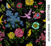 floral style pattern with birds ... | Shutterstock .eps vector #307077488