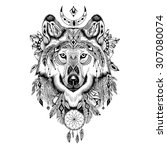 detailed wolf in aztec style. | Shutterstock . vector #307080074