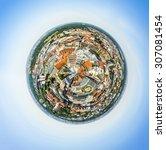 panoramic view of leipzig under ... | Shutterstock . vector #307081454