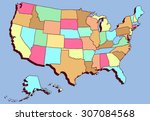 colorful cartoon usa map | Shutterstock .eps vector #307084568