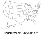 cartoon usa map | Shutterstock .eps vector #307084574