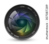 front view of photo camera lens ... | Shutterstock .eps vector #307087289