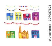hand drawn watercolor... | Shutterstock . vector #307087826
