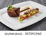grilled beef steak with potato... | Shutterstock . vector #307091960