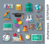 set of flat education icons for ... | Shutterstock .eps vector #307095659