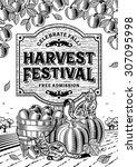 harvest festival poster black... | Shutterstock .eps vector #307095998