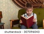boy child read book  children... | Shutterstock . vector #307096043