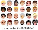 set of smiling faces characters ... | Shutterstock .eps vector #307098260