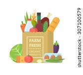 paper package with fresh... | Shutterstock .eps vector #307100579