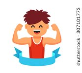 strong athletic looking kid... | Shutterstock .eps vector #307101773