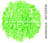 green vegetables watercolor... | Shutterstock .eps vector #307102940