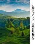 carpathian mountain valley.... | Shutterstock . vector #307103354