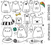 set of 11 sticker doodle cats... | Shutterstock .eps vector #307104863