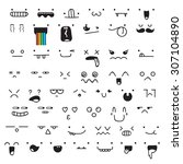 set of 50 different pieces of... | Shutterstock .eps vector #307104890