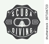 diving logos  labels and... | Shutterstock .eps vector #307106723