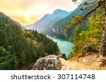 Stock photo scene over gorge dam when sunrise in the early morning in north cascade national park wa usa 307114748