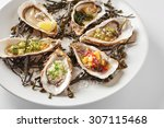 fine dinning oysters plate in... | Shutterstock . vector #307115468
