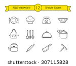 kitchenware line icons set....