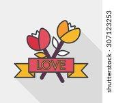 valentine's day flower flat... | Shutterstock .eps vector #307123253