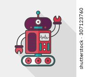 robot concept flat icon with... | Shutterstock .eps vector #307123760