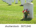Headstone With Flowers ...