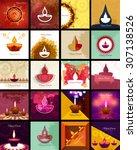 beautiful happy diwali 20... | Shutterstock .eps vector #307138526