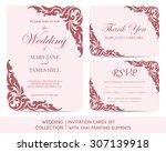 wedding invitation cards set... | Shutterstock .eps vector #307139918