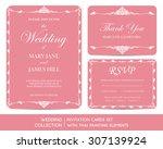 wedding invitation cards set... | Shutterstock .eps vector #307139924
