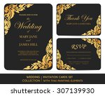 wedding invitation cards set... | Shutterstock .eps vector #307139930