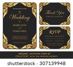 wedding invitation cards set... | Shutterstock .eps vector #307139948