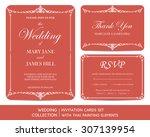 wedding invitation cards set... | Shutterstock .eps vector #307139954