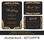 wedding invitation cards set... | Shutterstock .eps vector #307139978