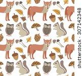 autumn animal background | Shutterstock .eps vector #307142348
