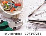 metal pliers  screwdriver and... | Shutterstock . vector #307147256