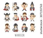 set of warrior costume... | Shutterstock .eps vector #307153763