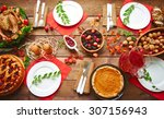 high angle view of table served ... | Shutterstock . vector #307156943