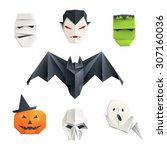 set of origami halloween... | Shutterstock .eps vector #307160036