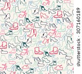 vector pattern of fashion shoes ... | Shutterstock .eps vector #307160189