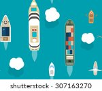 seamless pattern with different ... | Shutterstock .eps vector #307163270