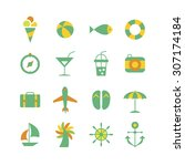 a set of color vector icons for ... | Shutterstock .eps vector #307174184