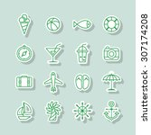 a set of line vector icons for... | Shutterstock .eps vector #307174208