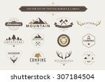 set of vintage  camping badges... | Shutterstock .eps vector #307184504