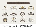 set of vintage  food badges and ... | Shutterstock .eps vector #307184600