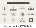 set of vintage  nautical badges ... | Shutterstock .eps vector #307184696