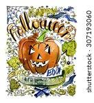 happy halloween hand drawn... | Shutterstock . vector #307193060