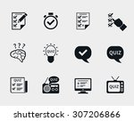 quiz icon set. question and... | Shutterstock .eps vector #307206866