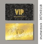 vip gold cards with floral... | Shutterstock .eps vector #307243118